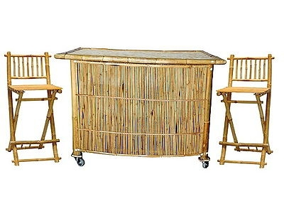 Tiki Bar Stools El Monte Ca 91731 with regard to Bamboo Tiki Bar Set With 2 Stools