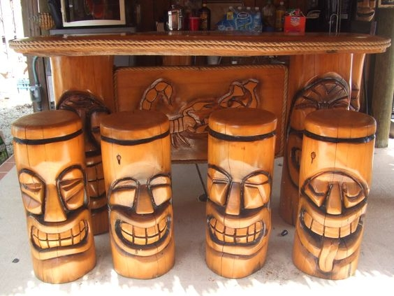 Tiki Bars Stools And Bar Stools On Pinterest in Tiki Bar Stools