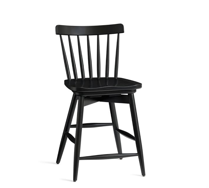 Tilden Spindle Back Swivel Barstool Pottery Barn intended for Black Swivel Bar Stools With Back