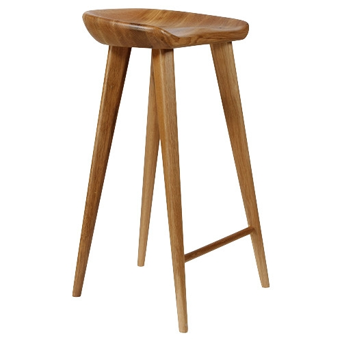 Tractor Carved Wood Bar Stool Natural Contemporary Bar Stools with regard to Backless Wood Bar Stools