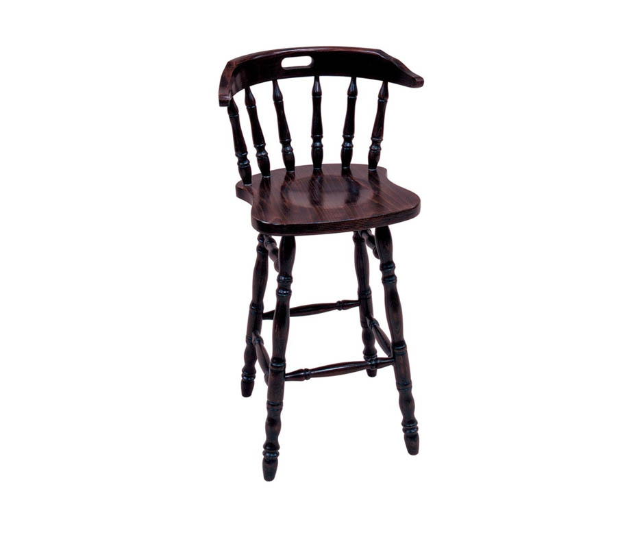 Traditional Captains Spindle Back Pub High Bar Stool Dark Oak Finish throughout Pub Bar Stools