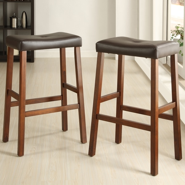 Tribecca Home Nova Black Saddle Cushioned Seat 29 Inch Bar Stools within Padded Saddle Bar Stools