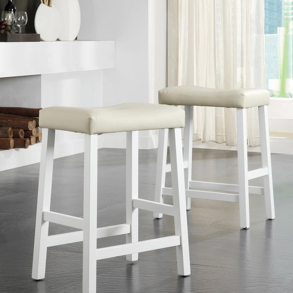 Tribecca Home Nova White Saddle Cushioned Seat 24 Inch Barstools intended for 24 inch saddle bar stools with regard to Current Home