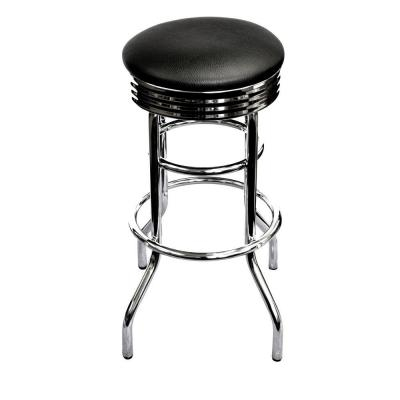 Trinity 29 In Chrome Swivel Barstool In Black Twe 1101 The Home intended for Chrome Bar Stools