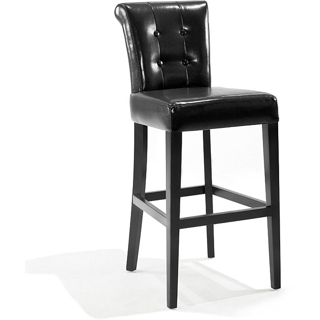 Tufted Back Black Bicast Leather Barstool 13123867 Overstock for Amazing in addition to Interesting black leather bar stools intended for The house