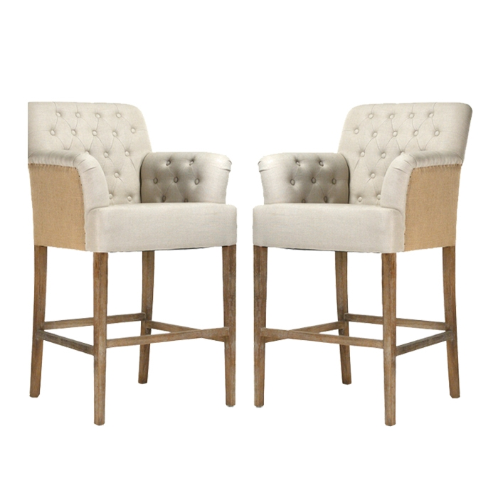 Tufted Jute Bar Stools Distressed Frame with regard to Tufted Bar Stools