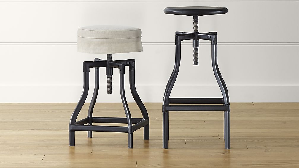 Turner Black Adjustable Backless Bar Stools And Linen Cushion with regard to The Awesome  bar stools backless for  Residence