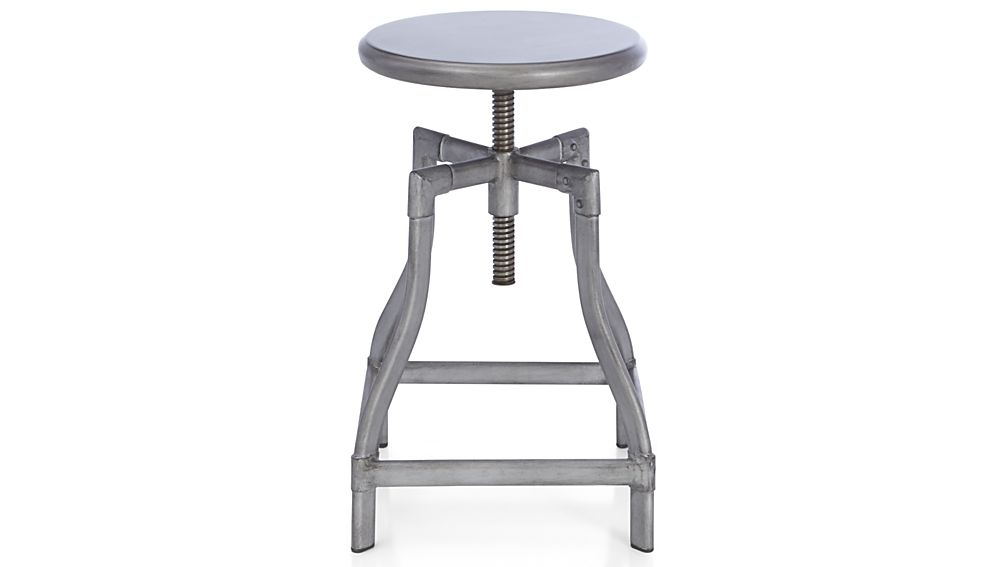 Turner Gunmetal Adjustable Backless Bar Stools And Linen Cushion in Bar Stools Adjustable