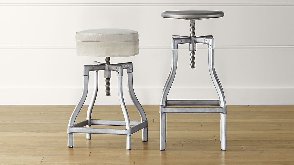 Turner Gunmetal Adjustable Backless Bar Stools And Linen Cushion with Adjustable Metal Bar Stools