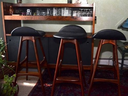Used Bar Modern Danish Cherry Wood 3 Bar Stools For Sale In pertaining to Used Bar Stools