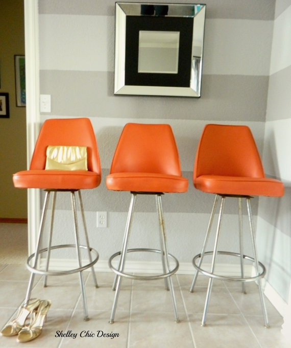 Vintage Chrome Amp Orange Vinyl Bar Stools Admiral Chrome Corp inside The Most Brilliant along with Interesting orange bar stools intended for Warm