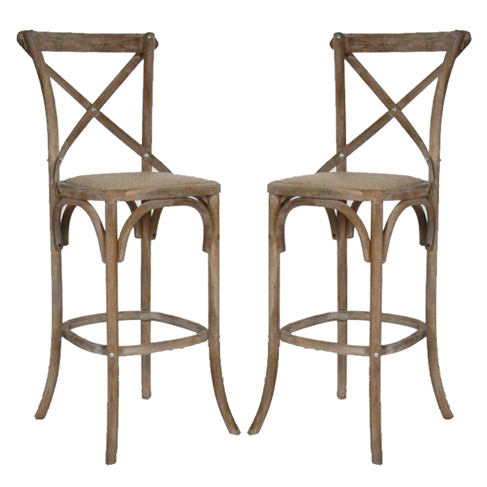 Vintage French Cafe Bar Stools Grey Oak with French Bar Stools