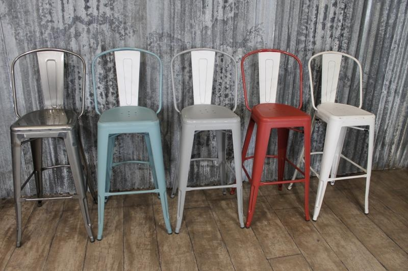 Vintage Industrial Tolix Style Gun Metal Bar Stools With Back Rest in Vintage Metal Bar Stools