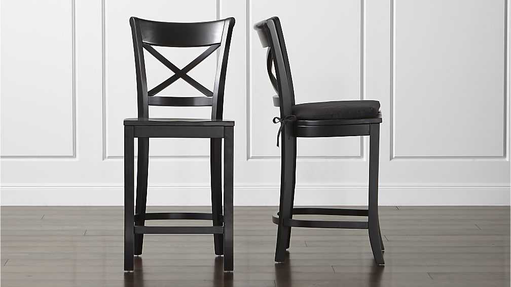 Vintner Black Bar Stool And Cushion Crate And Barrel intended for Black Bar Stool