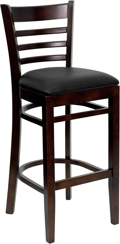 Walnut Finished Ladder Back Wooden Restaurant Bar Stool With Black throughout Wood Bar Stools With Back