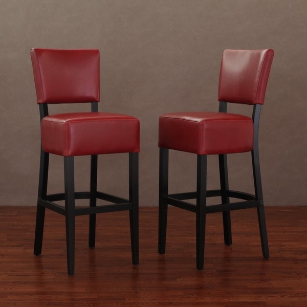 Wasatch Burnt Red Leather Barstools Set Of 2 10026789 pertaining to Red Leather Bar Stools