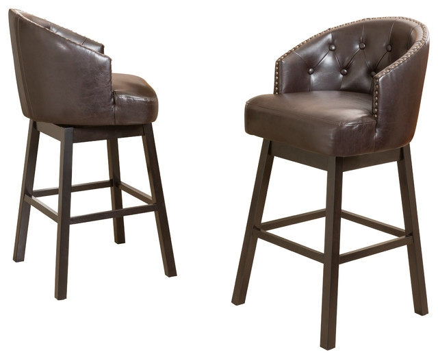 Westman Brown Leather Swivel Backed Barstool Set Of 2 Bar inside Brown Leather Swivel Bar Stools