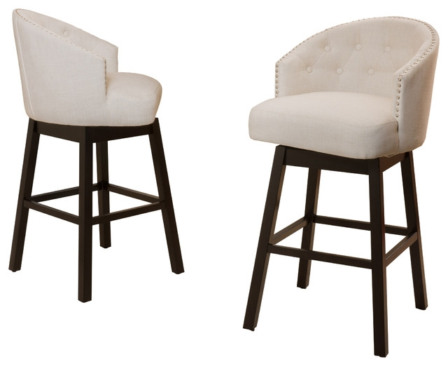 Westman Swivel Bar Chairs Set Of 2 Beige Transitional Bar intended for The Awesome  cloth bar stools intended for The house