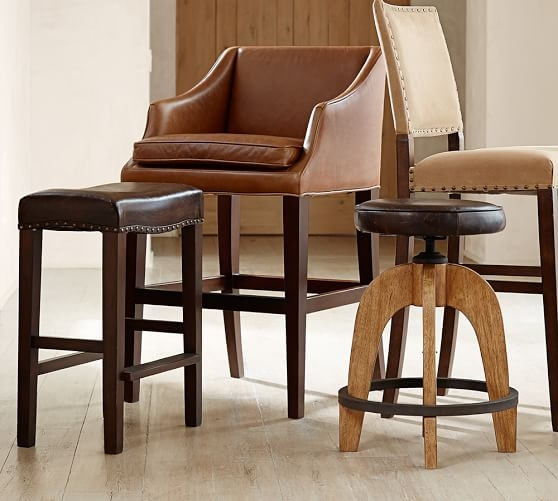 Weyburn Leather Barstool Pottery Barn with pottery barn bar stools regarding Your house