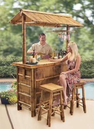 What39s The Best Outdoor Bar Set For Your Pool Or Patio Outdoor Bar in bamboo tiki bar set with 2 stools regarding Inviting