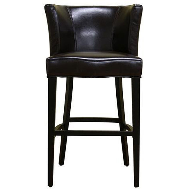 Willet Curved Backrest Leather Barstool 12334307 Overstock pertaining to Bar Stool With Backrest
