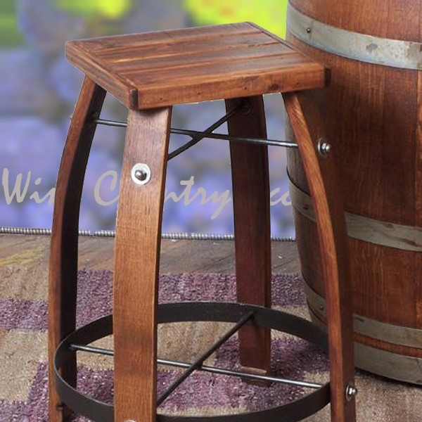 Wine Barrel Bar Stools With Wood Tops 2 Day Designs Wv818 Wine inside Wine Barrel Bar Stools