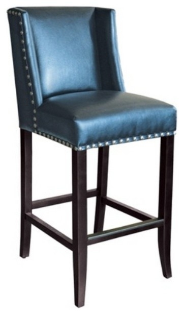 Wing Back Bar Stool In Blue Leather With Silver Nailhead Modern regarding blue bar stools intended for Comfy