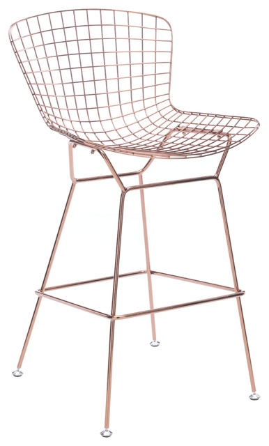 Wire Bar Chair Rose Gold Set Of 2 Contemporary Bar Stools And for Wire Bar Stools