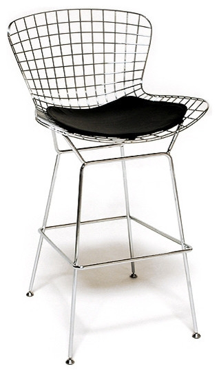 Wireback Counter Stool Chrome Finish With Black Pad Bar Stools pertaining to Chrome Bar Stools