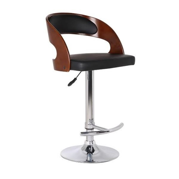 Wood And Black Faux Leather Adjustable Swivel Bar Stool 18013047 in Wood And Leather Bar Stools