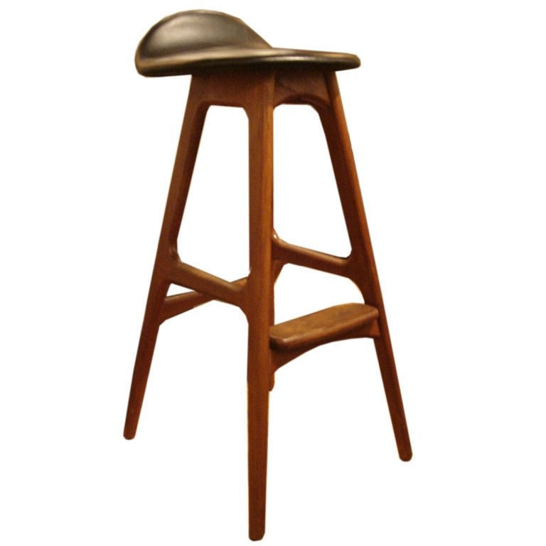 Wood And Black Leather Bar Stools Erik Buck At 1stdibs in The Awesome  wood and leather bar stools pertaining to Property