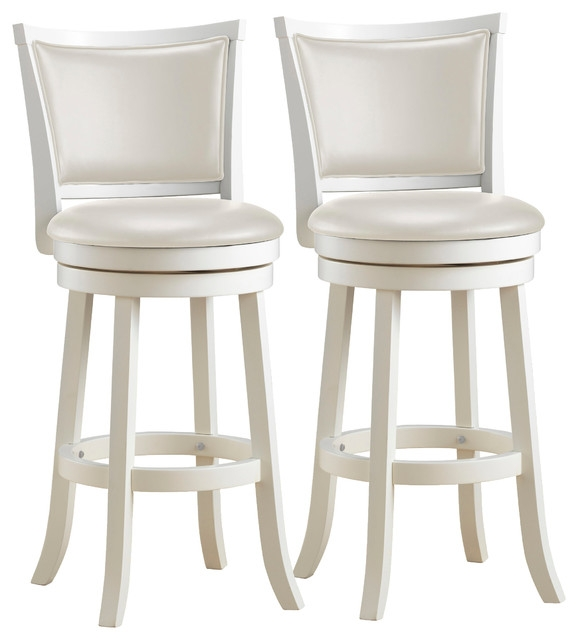 Woodgrove 43quot White Wash Wood Barstool With Leatherette Seat Set intended for White Wood Bar Stools