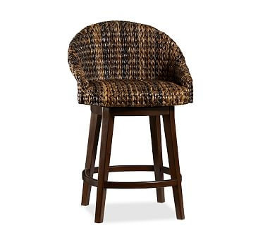 Woven Bar Stool Woven Counter Stool Woven Bar Chair Pottery Barn within Wicker Swivel Bar Stools