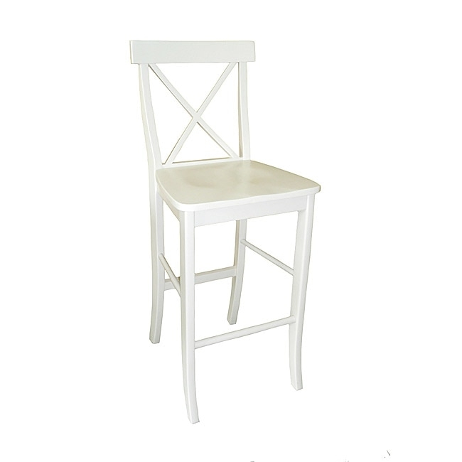 X Back White Bar Stool 13832564 Overstock Shopping Great in White Bar Stools With Backs