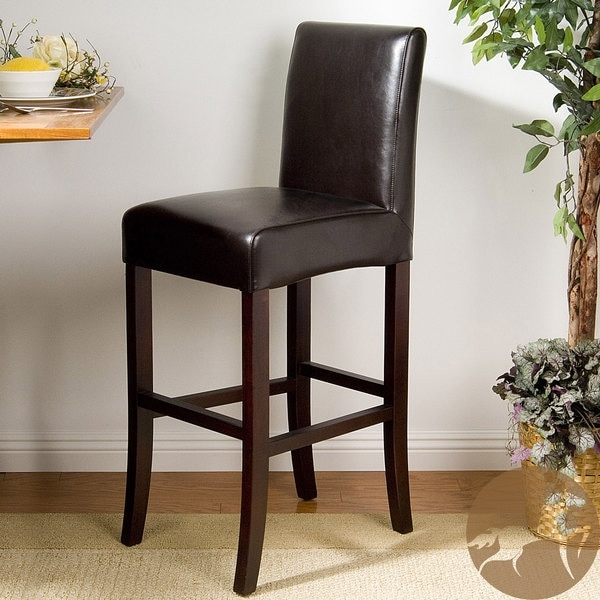 York Brown Bonded Leather 28 Inch Bar Stool 13015321 Overstock inside 28 Inch Bar Stools