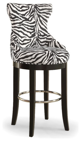 Zebra Print Fabric Bar Stool With Metal Footrest Contemporary within The Most Amazing  animal print bar stools regarding Cozy