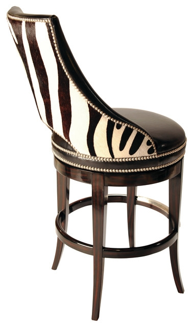 Zebrano Swivel Barstool Back Traditional Bar Stools And inside Animal Print Bar Stools