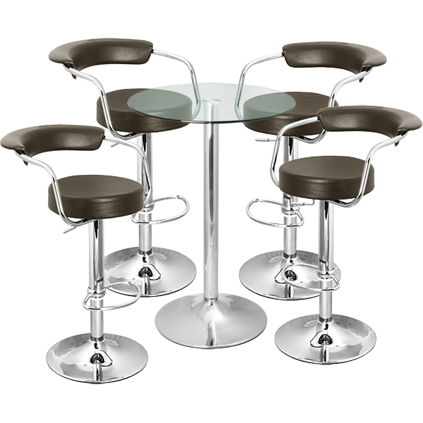 Zenith Bar Stool And Vetro Table Set Brown 8 Awesome Bar Stool inside bar stool sets regarding Cozy