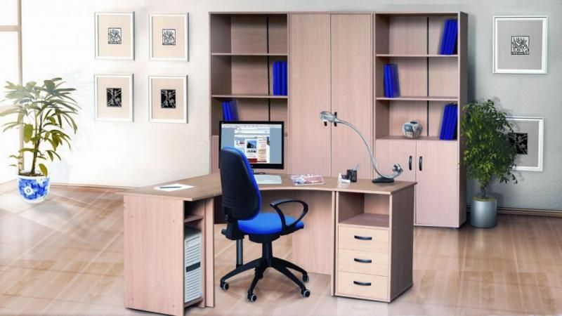 Best Contemporary Office Design With Modern Blue Office Chair And Wooden Desk Also With Custom Filing Cabinet