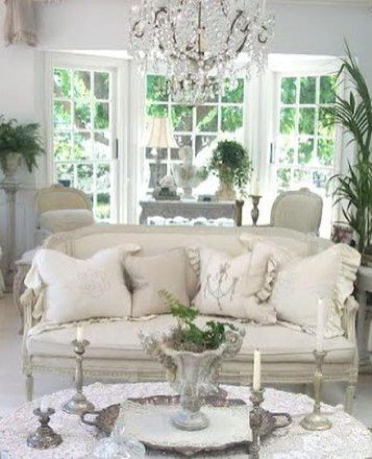 16 Stunning French Style Living Room Ideas: Beautiful White Shabby Chic Living Rooms Ideas